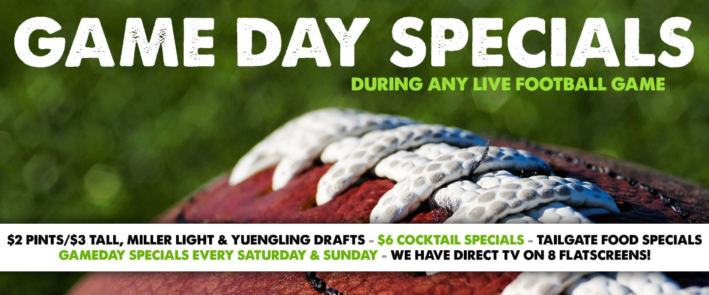 Great food and drink specials during any live football game!