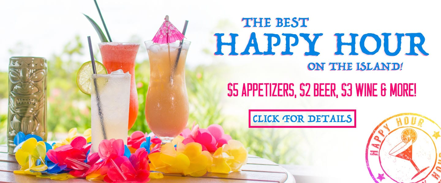 Enjoy Happy Hour Drink and Food Specials everyday starting at 2pm!